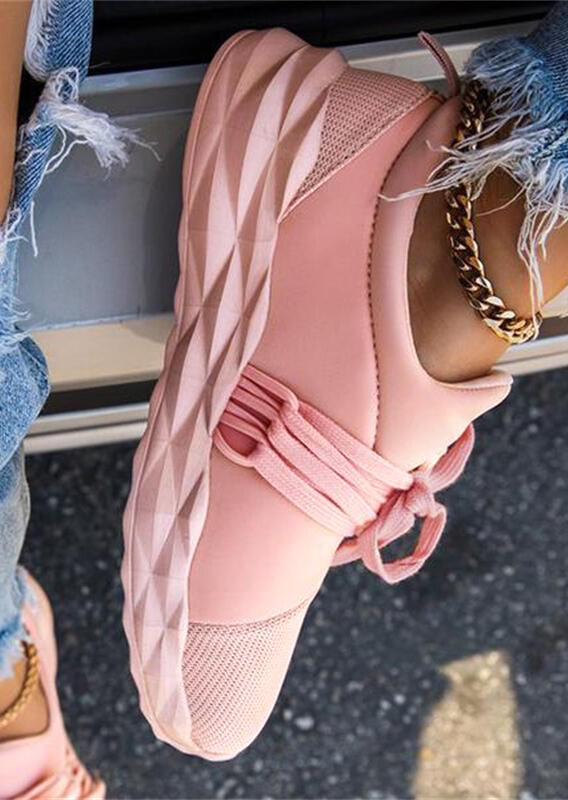 Breathable Lace Up Round Toe Sneakers without Anklet - Pink