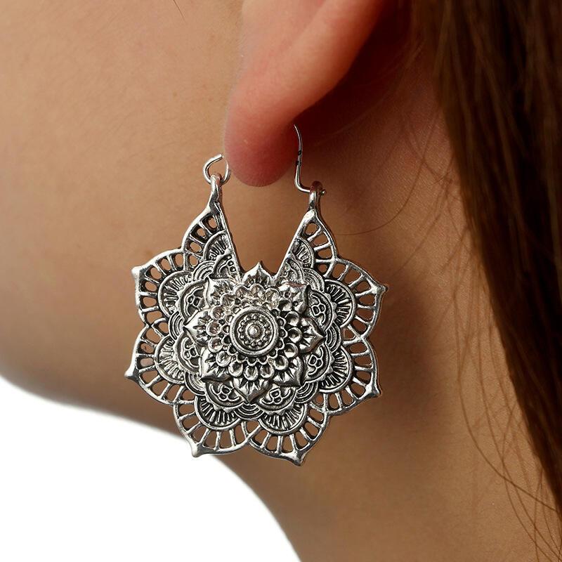 Bohemian Mandala Hollow Out Earrings