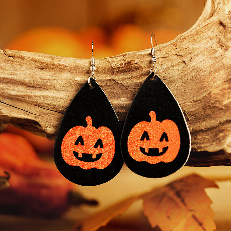 Halloween Pumpkin Witch Hat Leather Earrings