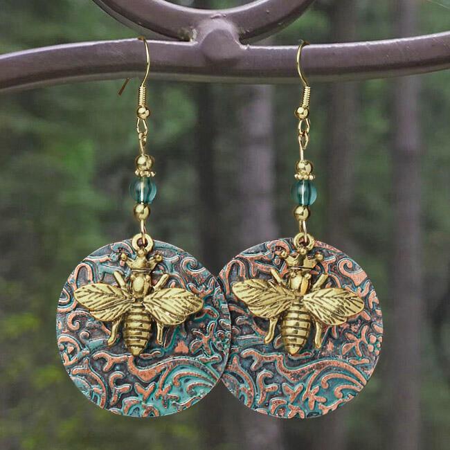 Bohemian Bee Beading Dual-Layered Earrings