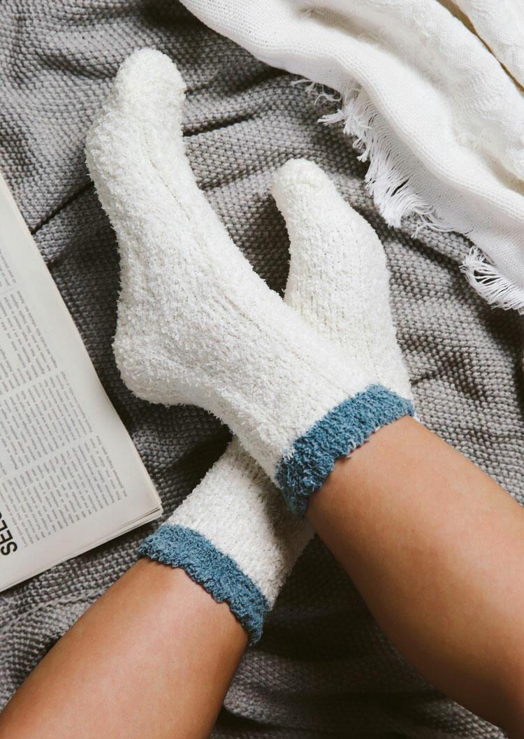 Color Block Casual Warm Plush Socks