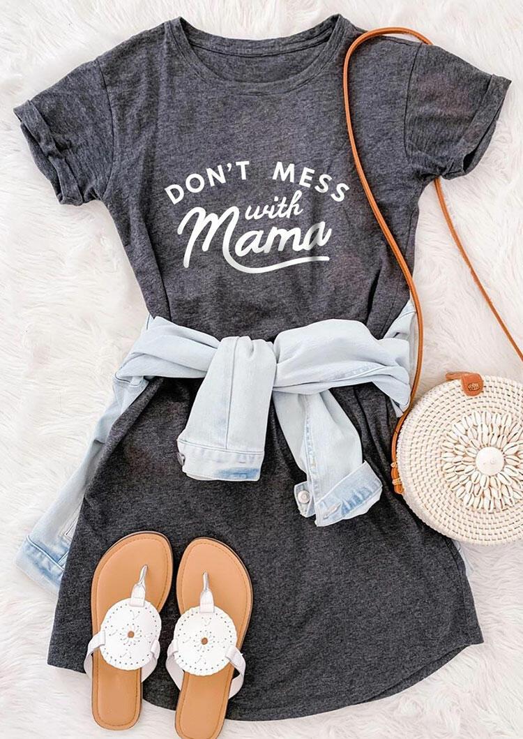 Don't Mess With Mama Mini Dress - Gray