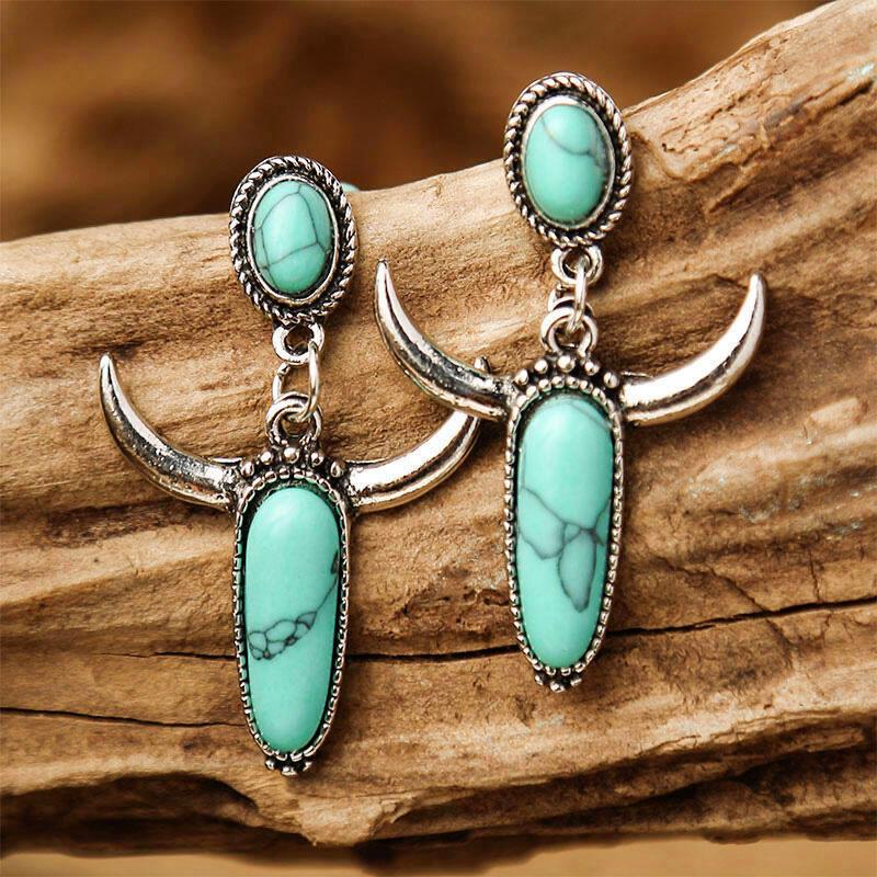 Creative Turquoise Horn Alloy Earrings