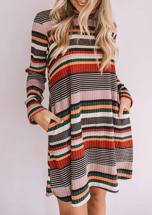 Colorful Striped Splicing Pocket Knitted Loose Mini Dress
