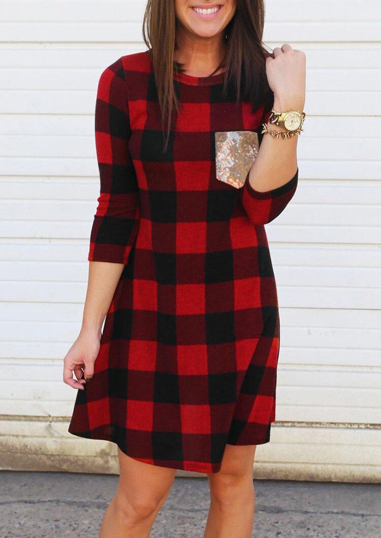 Buffalo Plaid Sequined Pocket Mini Dress