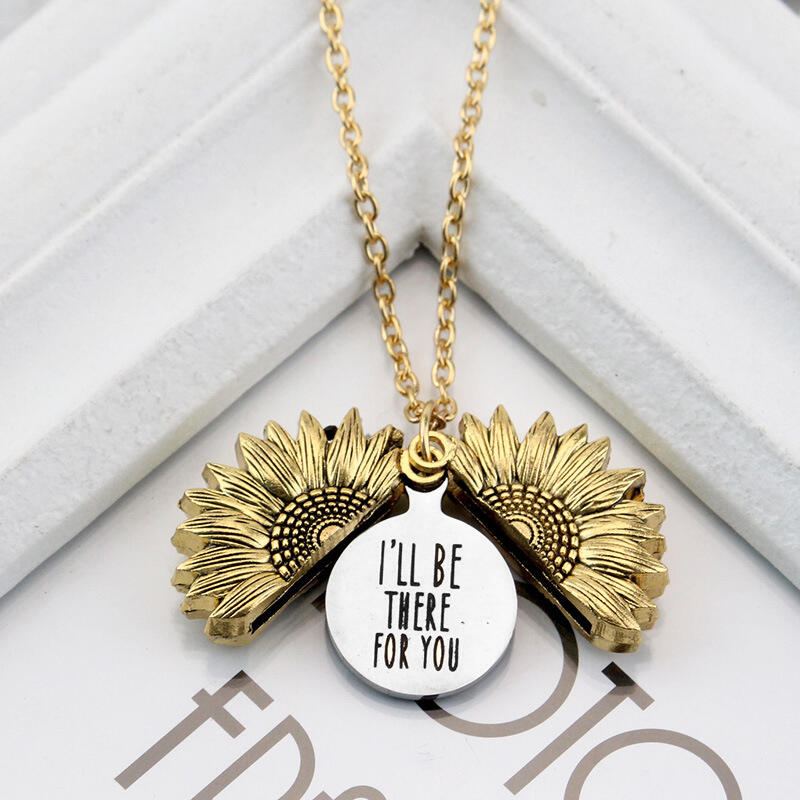 I'll Be There For You Sunflower Locket Pendant Necklace
