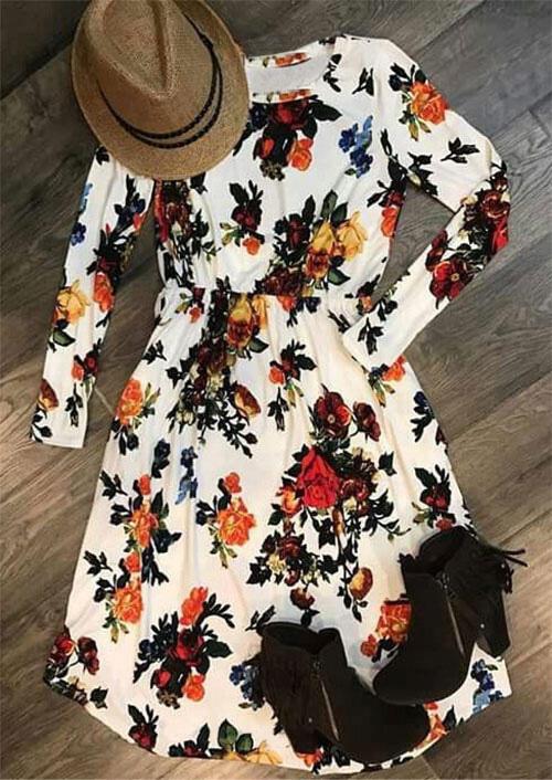 Floral Ruffled O-Neck Long Sleeve Casual Dress