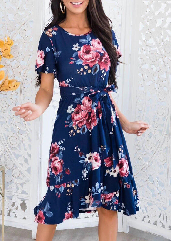 Floral Ruffled O-Neck Casual Dress - Navy Blue