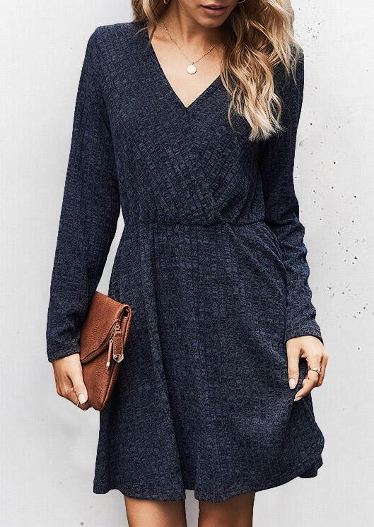 Elastic Waist Long Sleeve V-Neck Mini Dress - Navy Blue