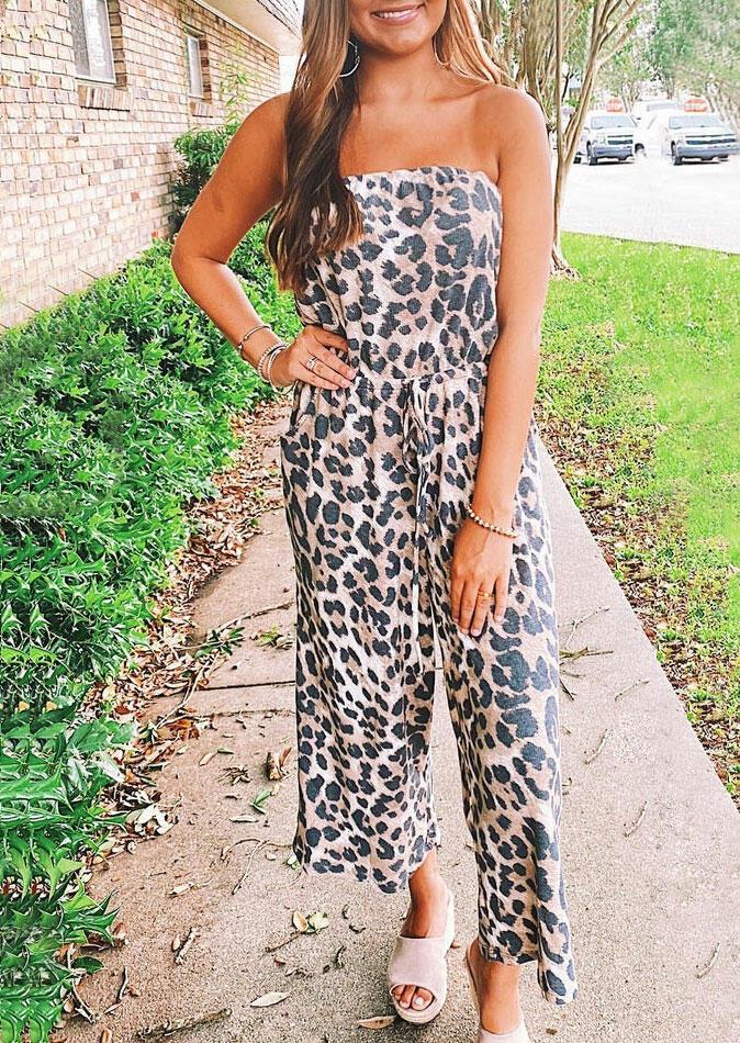 Leopard Drawstring Sleeveless Jumpsuit
