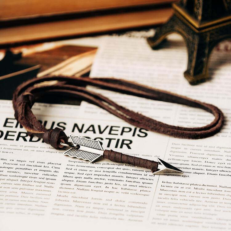 Vintage Creative Arrow Pendant Leather Necklace