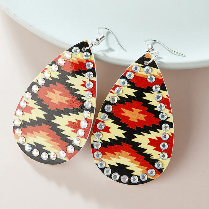 Aztec Geometric Rhinestone Water Drop PU Leather Earrings