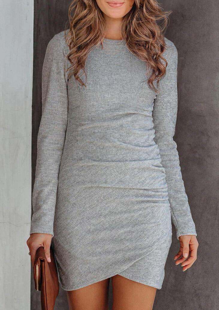 Ruched Long Sleeve Bodycon Dress - Gray