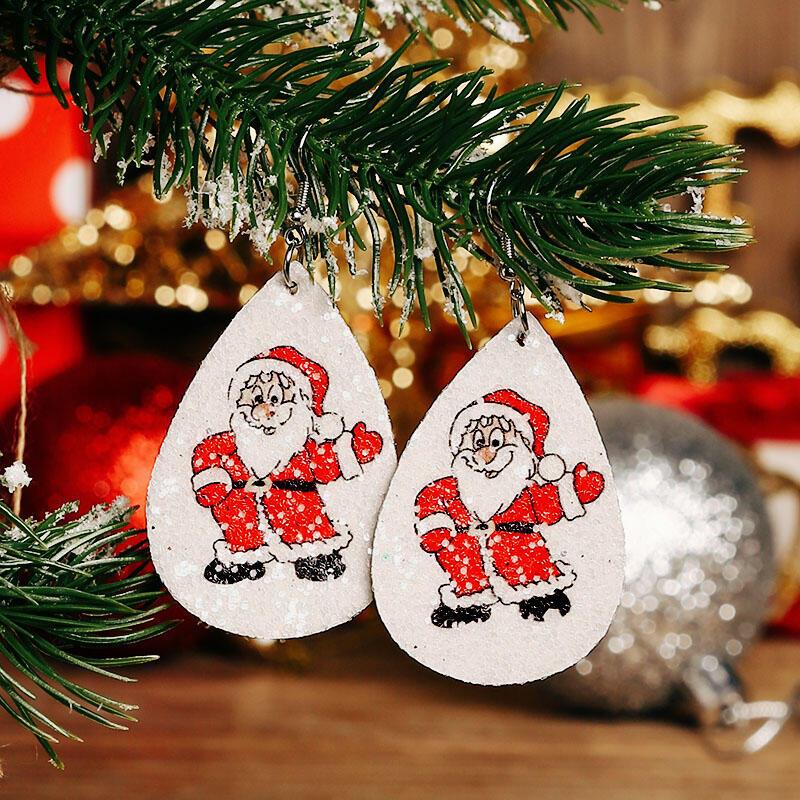 Christmas Santa Claus Snowflake Water Drop Earrings