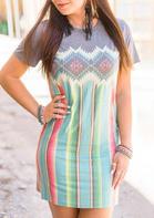 Serape Striped Aztec Geometric Western Cowgirl Mini Dress