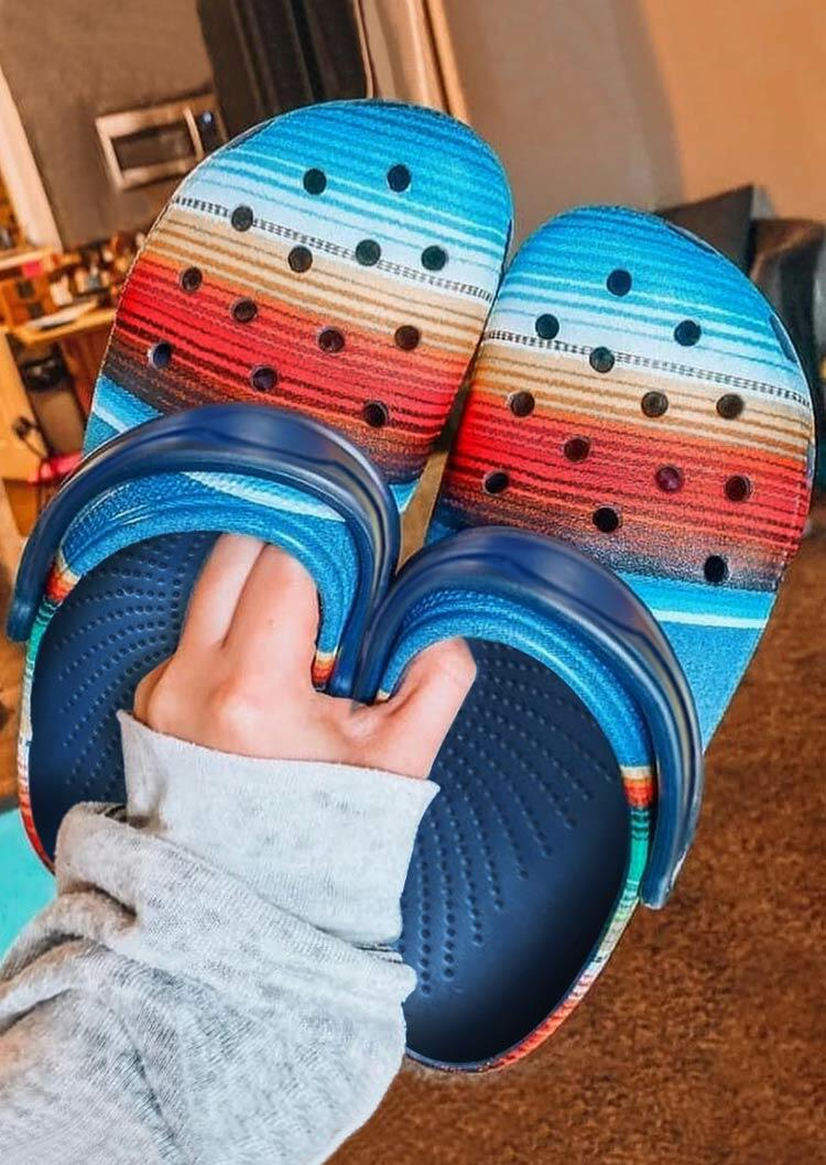 Serape Striped Hollow Out Slip On Flat Sandals