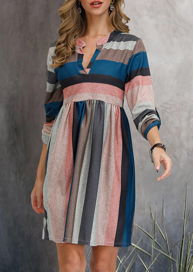 Colorful Striped V-Neck Three Quarter Sleeve Mini Dress