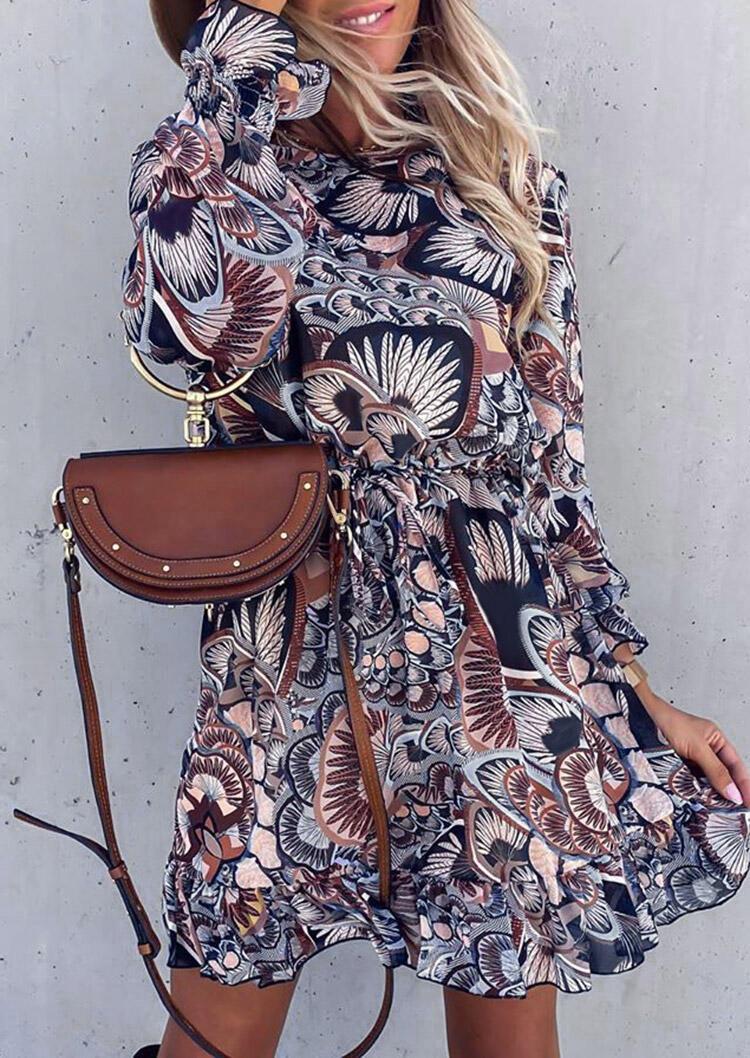 Feather Ruffled O-Neck Elastic Cuff Mini Dress