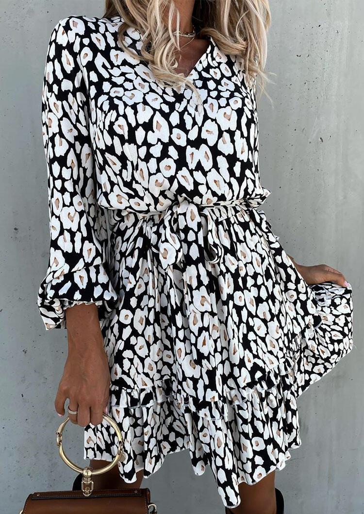 Black Cream Printed Ruffled Tie Elastic Cuff Mini Dress