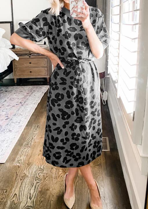 Leopard Splicing Tie O-Neck Casual Dress