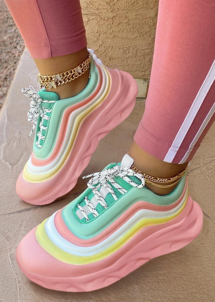 Rainbow Striped Lace Up Platform Round Toe Sneakers