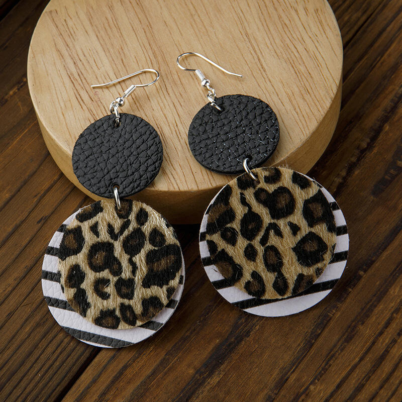Vintage Leopard Striped Dual-Layered Leather Earrings