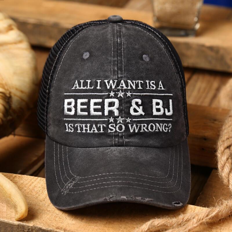 Beer & BJ Letter Mesh Splicing Baseball Cap