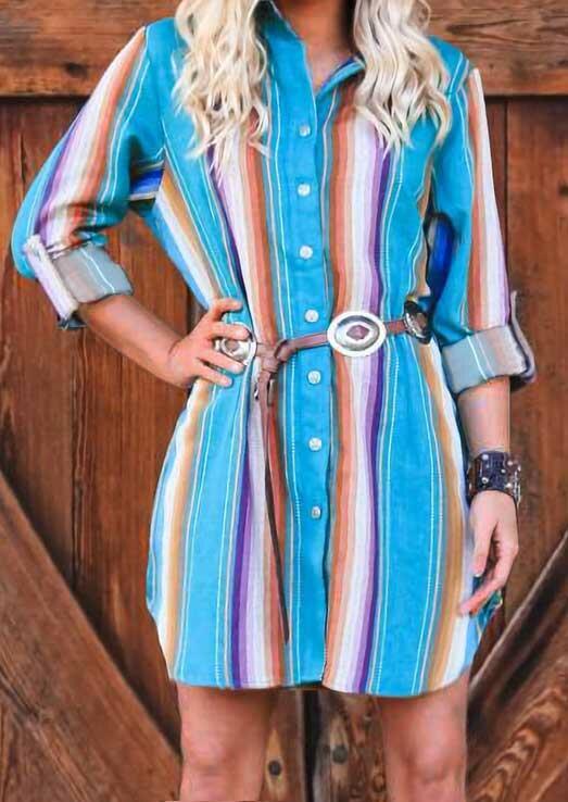Colorful Striped Button Shirt Mini Dress without Belt