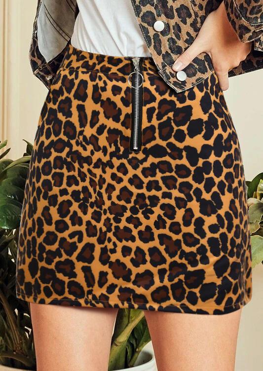 Leopard Zipper Pocket Mini Skirt