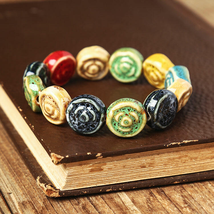 Vintage Colorful Flower Beading Ceramic Bracelet
