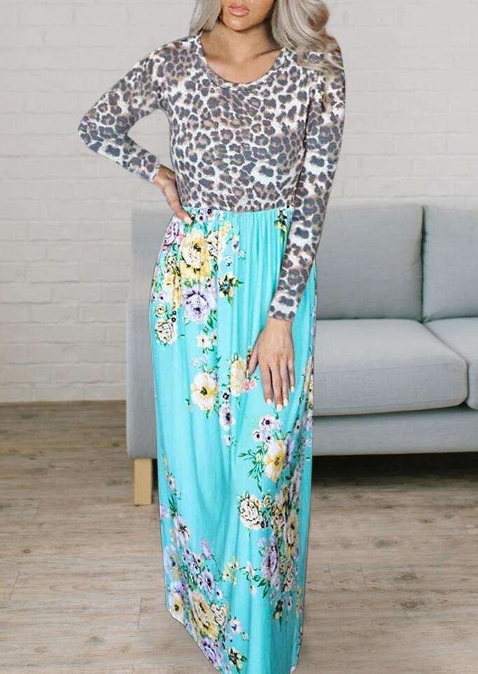 Leopard Floral Splicing Ruffled Maxi Dress