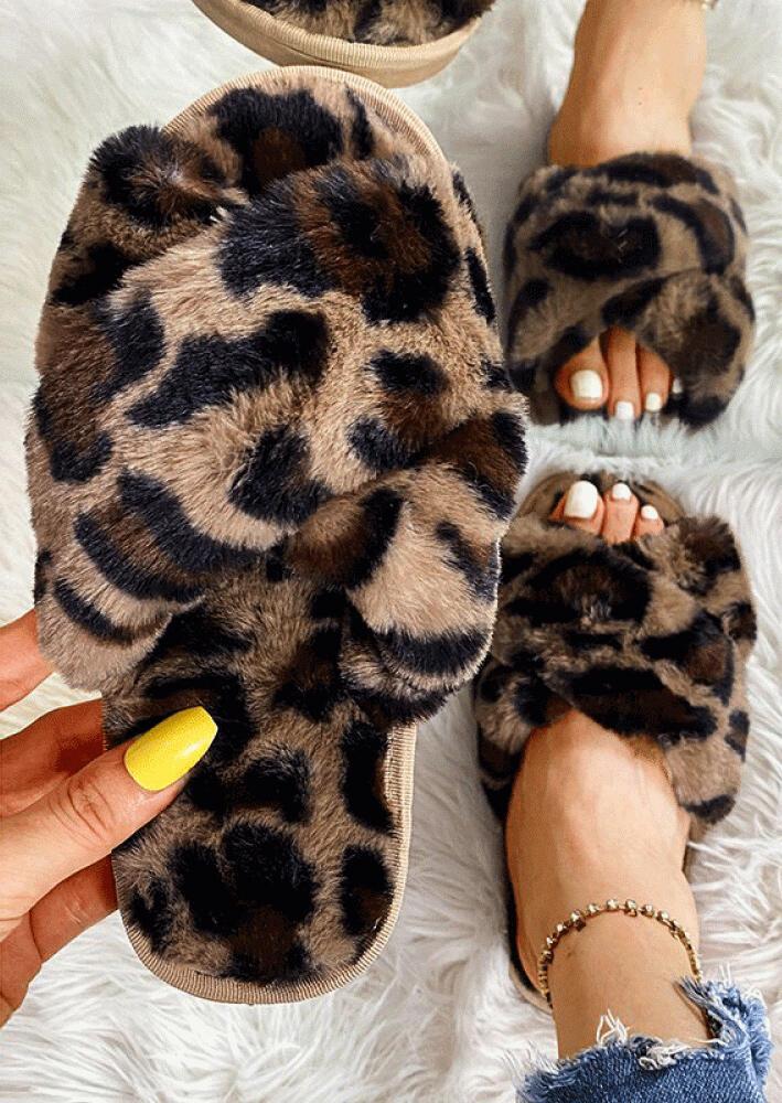 Leopard??Cross??Band??Plush??Warm??Flat??Slippers
