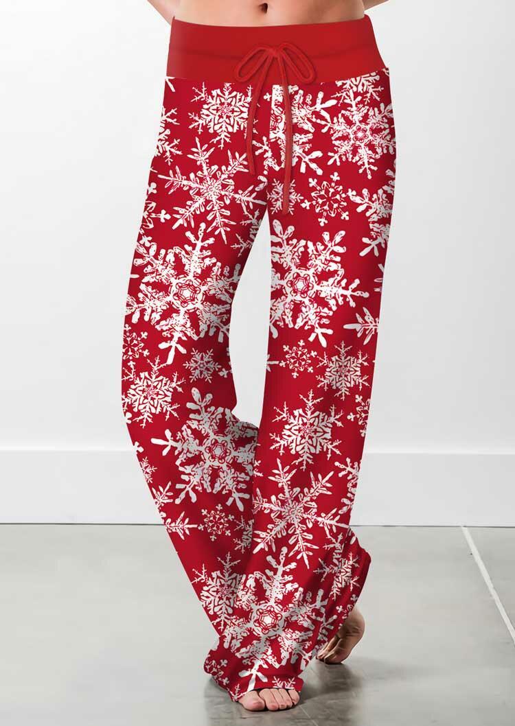 Christmas Snowflake Drawstring Wide Leg Pants - Red