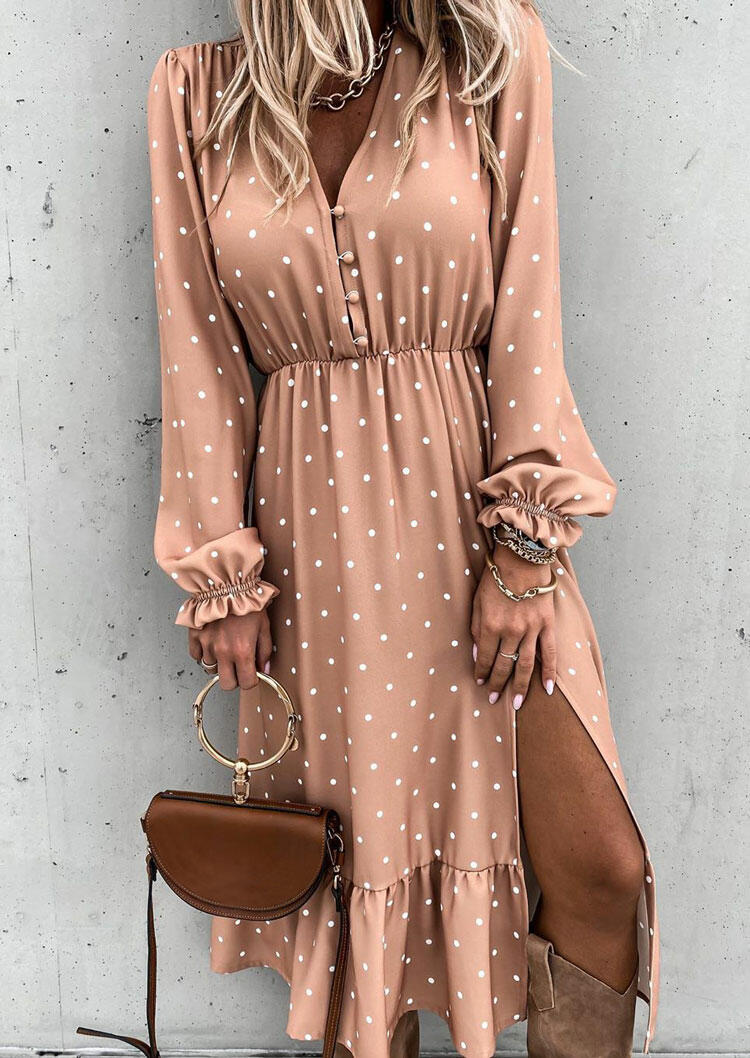 Polka Dot Ruffled Slit Long Sleeve Casual Dress - Flesh