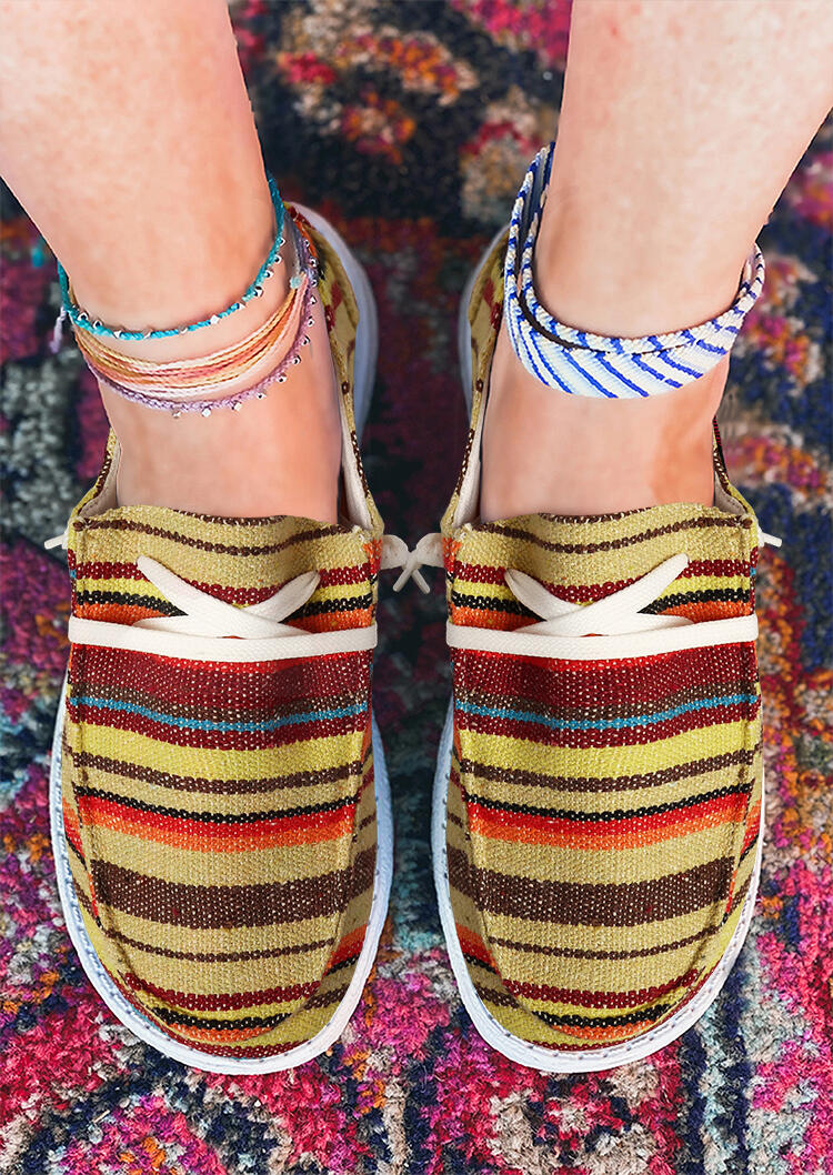 Colorful Striped Lace Up Round Toe Flat Sneakers