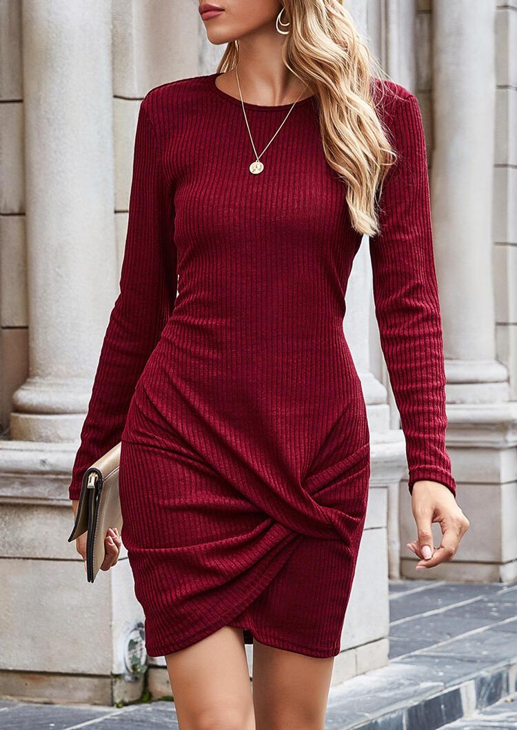 Twist O-Neck Knitted Asymmetric Bodycon Dress - Burgundy