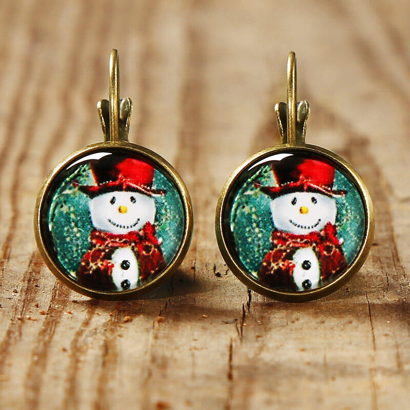 Christmas Snowman Snowflake Alloy Earrings