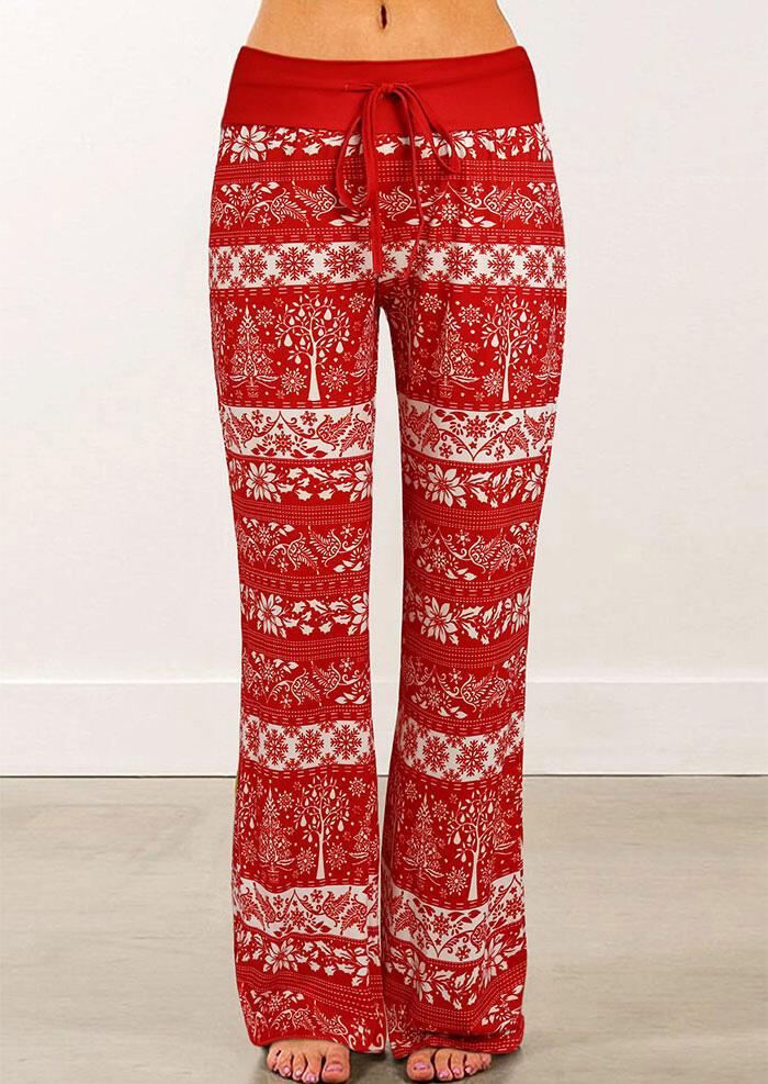 Christmas Tree Snowflake Drawstring Wide Leg Pants - Red