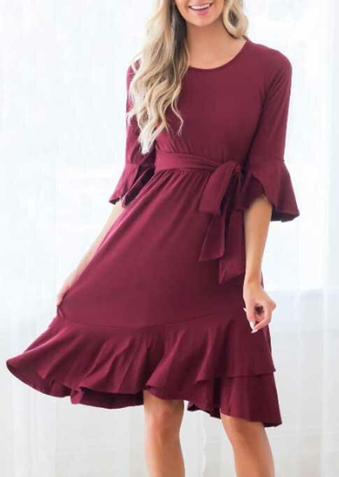 Ruffled Flare Sleeve O-Neck Casual Dress - Burgundy