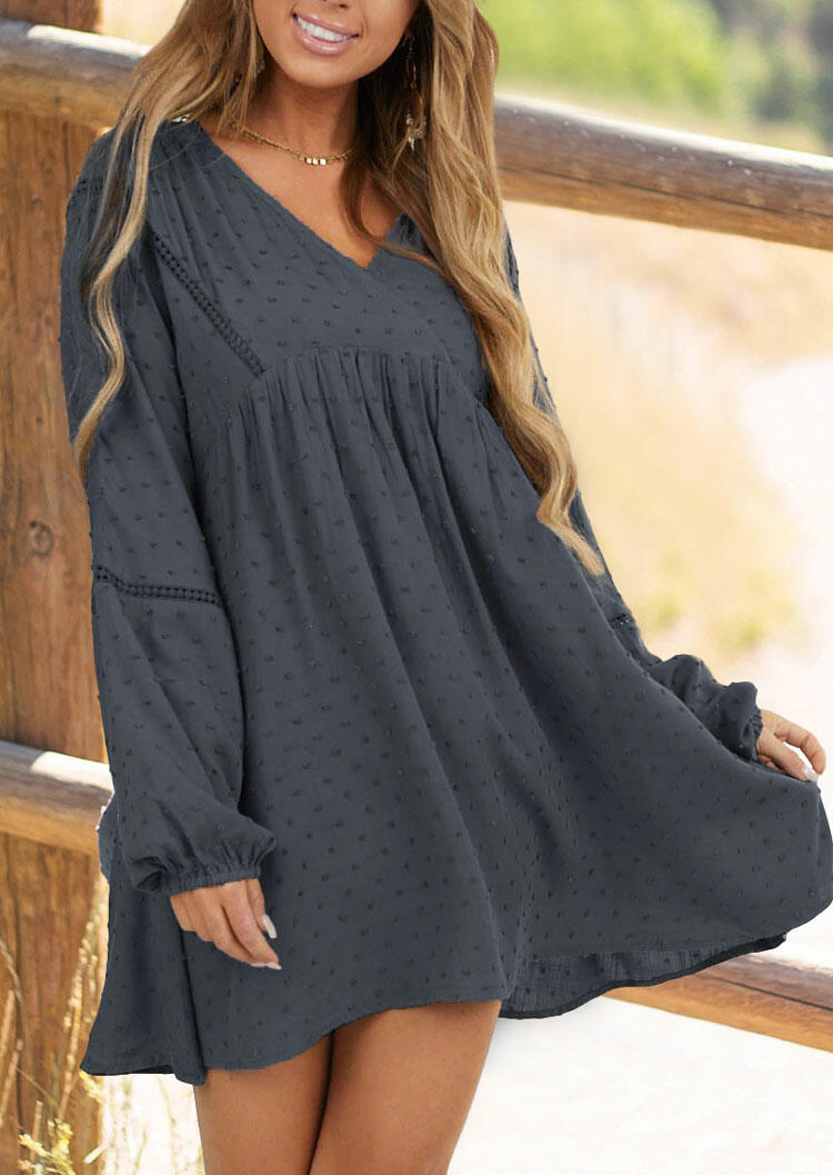 Dotted Swiss Ruffled Elastic??Cuff Mini Dress - Gray