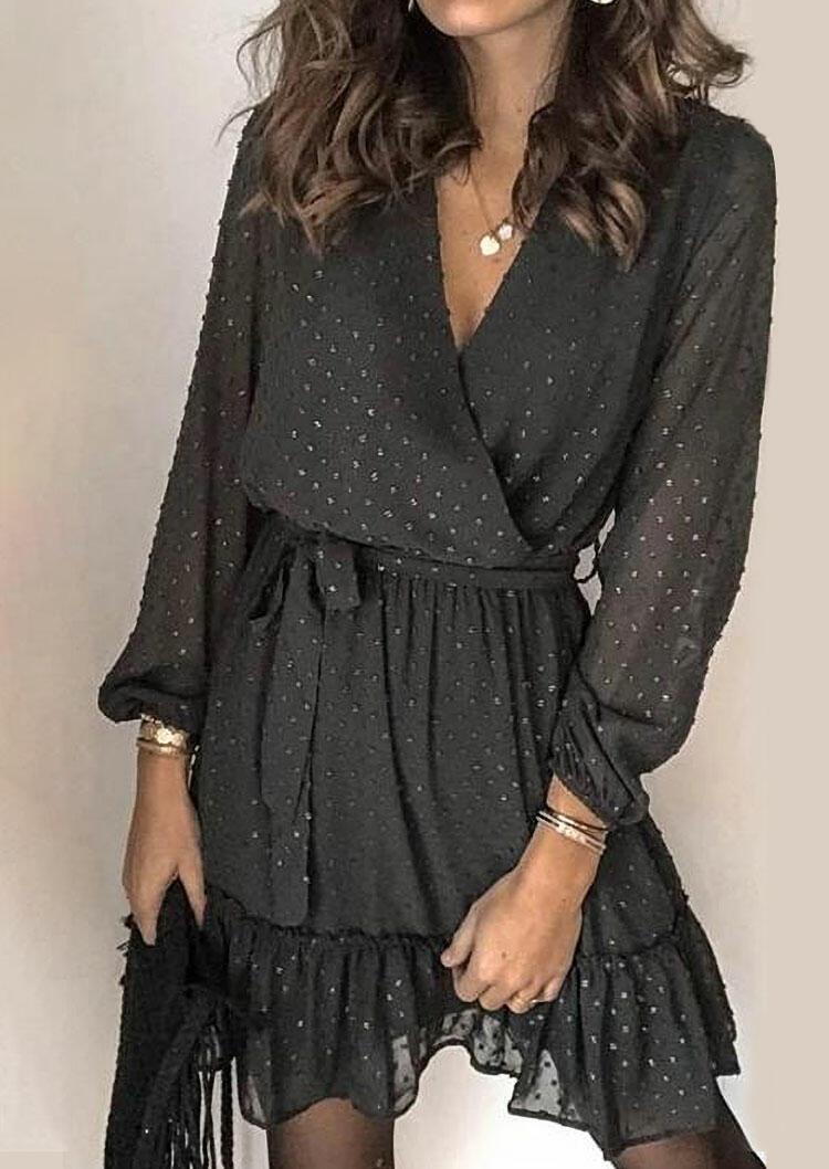 Dotted Swiss V-Neck Wrap Elastic Cuff Mini Dress - Black