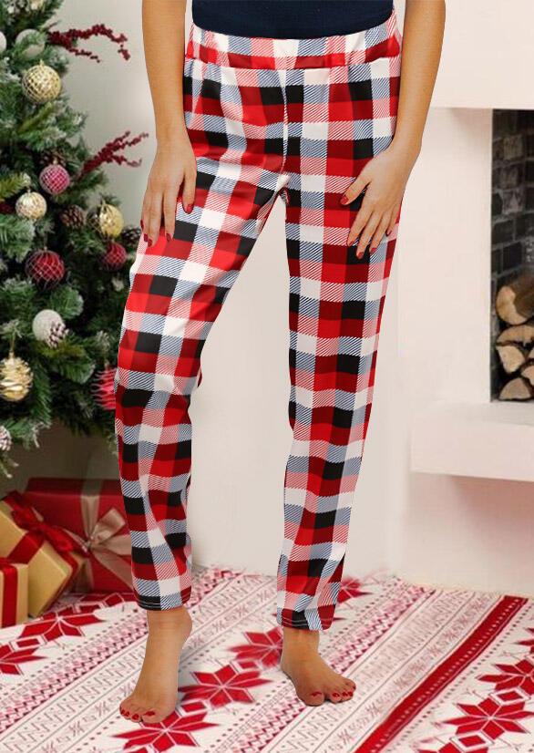 Christmas Plaid Elastic Waist Casual Pants