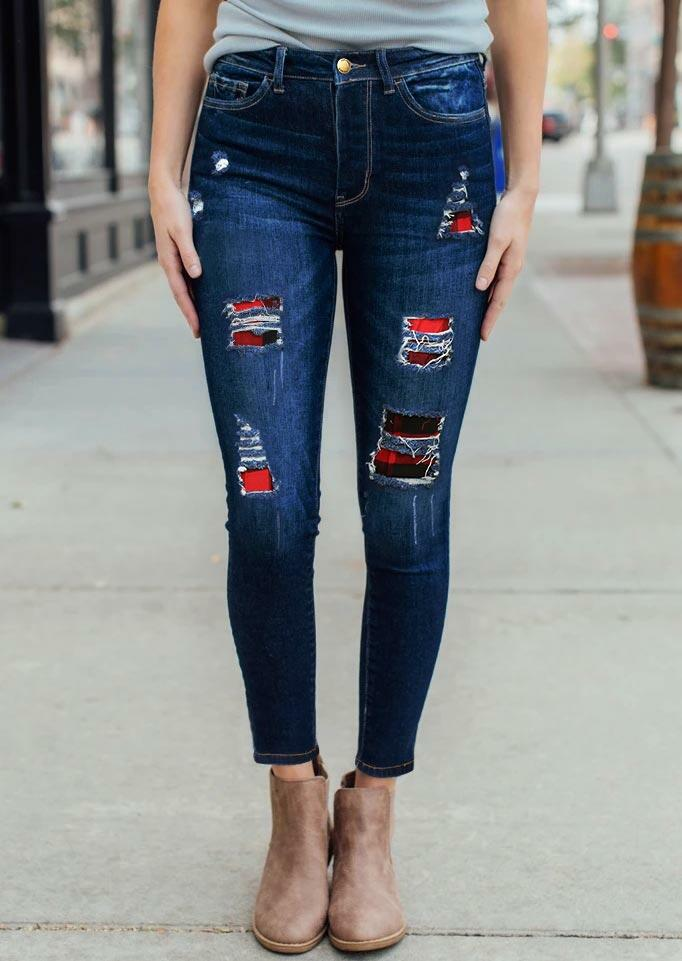 Buffalo Plaid Splicing Ripped Patch Pocket Jeans - Blue