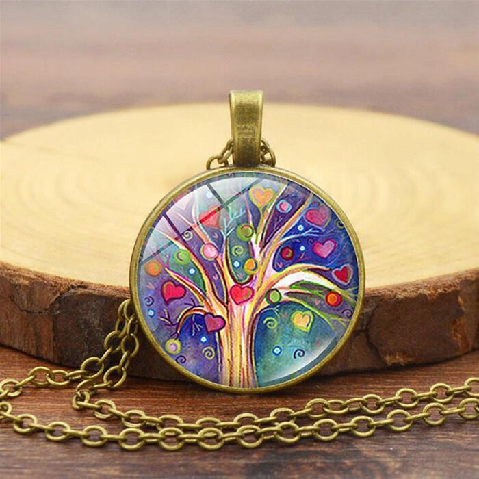 Creative Tree of Life Round Locket Pendant Necklace