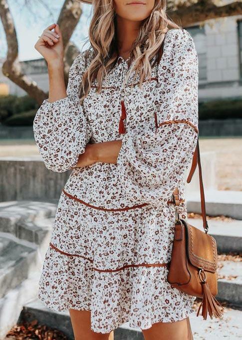 Floral Tassel Drawstring Elastic??Cuff Mini Dress - White