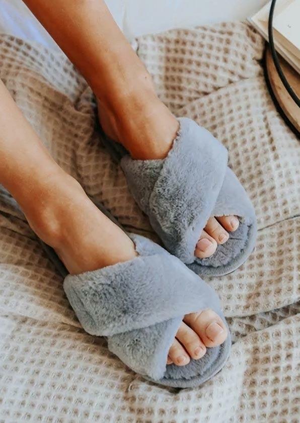 Cross Band Plush Warm Flat Slippers