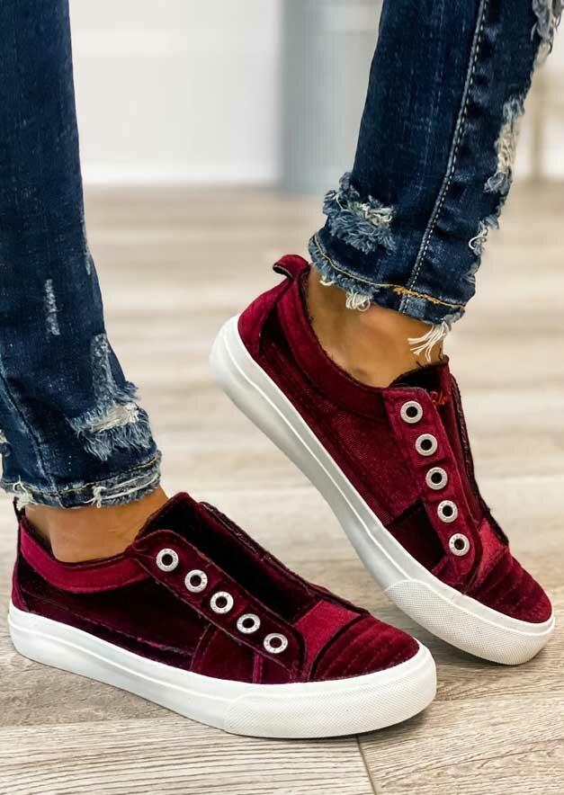 Slip On Round Toe Flat Sneakers - Burgundy