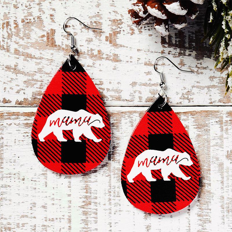 Christmas Buffalo Plaid Mama Bear Water Drop Earrings - Red