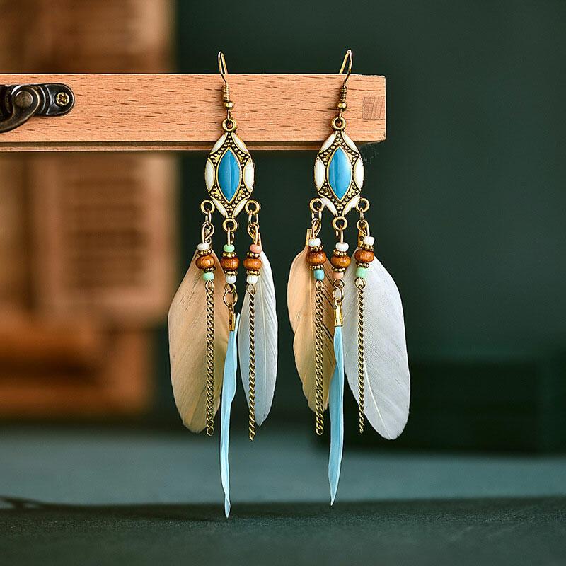 Vintage Creative Tassel Feather Beading Earrings