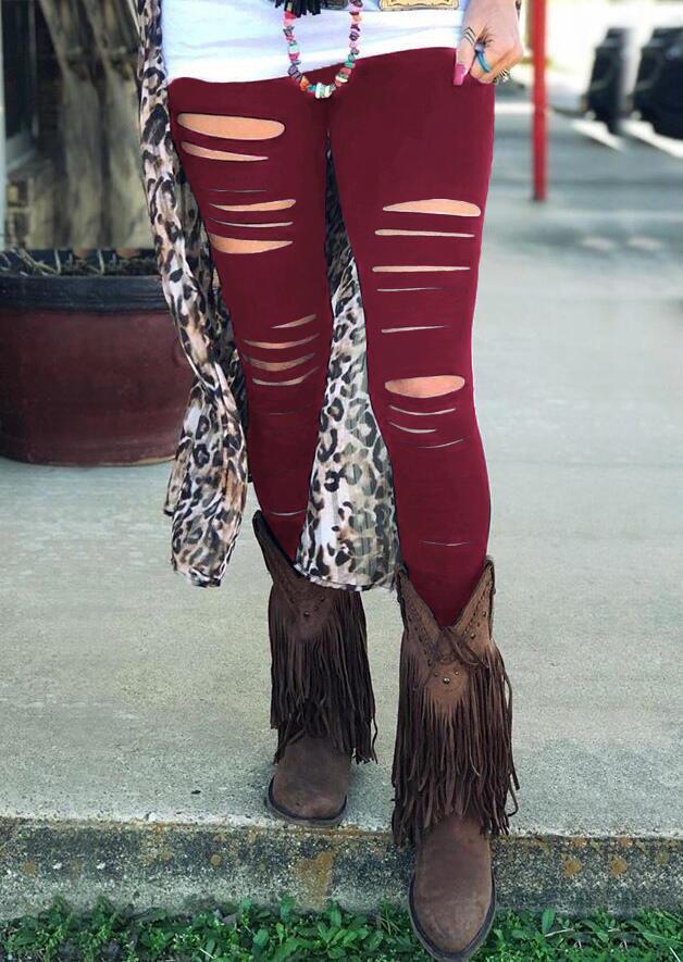 Hollow Out Elastic Waist Skinny Legging - Burgundy